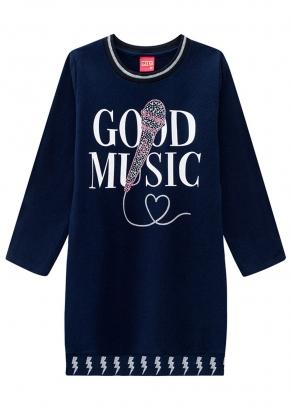 Vestido Infantil Feminino Azul Inverno Music Kyly