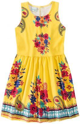 Vestido Infantil Amarelo Verão Malwee