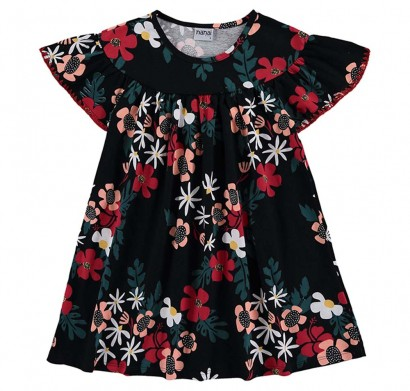 Vestido Infantil Verão Preto Floral Nanai