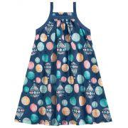 Vestido Infantil Azul Marinho Balão Kyly
