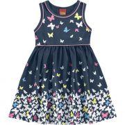 Vestido Infantil Azul Marinho Borboleta Kyly