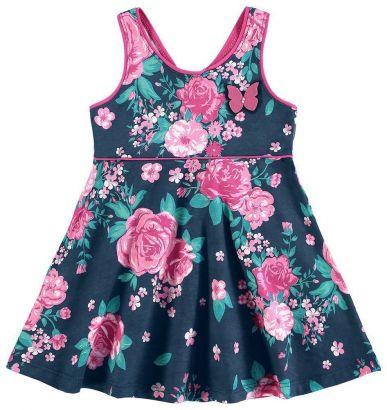 Vestido Infantil Azul Marinho Flores Kyly