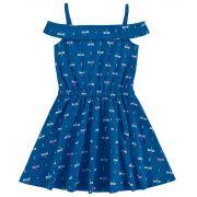 Vestido Infantil Azul Marinho Libélula Kyly