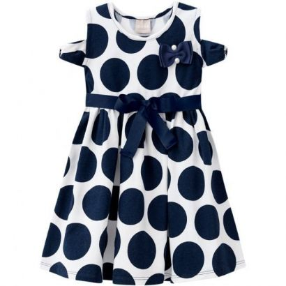 Vestido Infantil Azul Marinho Poá Milon