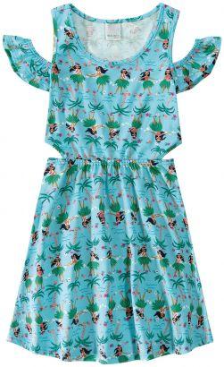 Vestido Infantil Feminina Verão Azul Havaiana Malwee