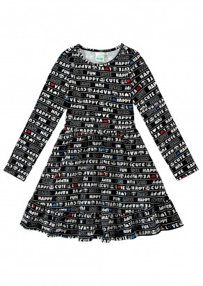 Vestido Infantil Feminino Cute Preto Malwee