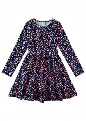 Vestido Infantil Feminino Azul Coração Malwee