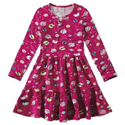 Vestido Infantil Inverno Rosa Espacial Malwee