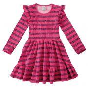Vestido Infantil Feminino Inverno Rosa Star Malwee
