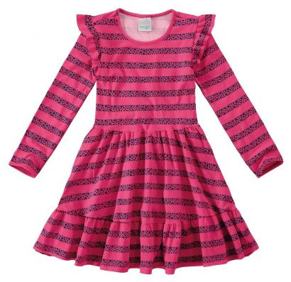 Vestido Infantil Inverno Rosa Star Malwee