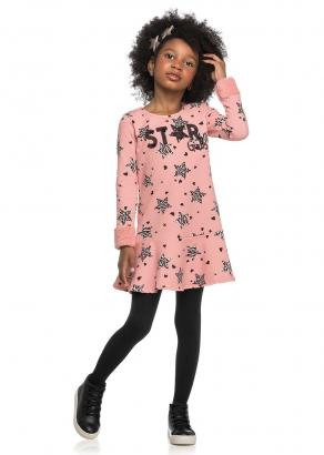 Vestido Infantil Feminino Inverno Rosa Stars - Elian