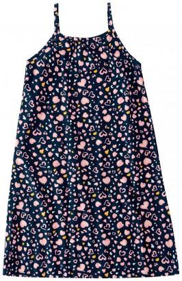 Vestido Infantil Feminino Verão Azul Coração  Malwee