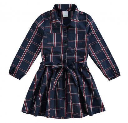 Vestido Infantil Inverno Azul Marinho Xadrez Malwee
