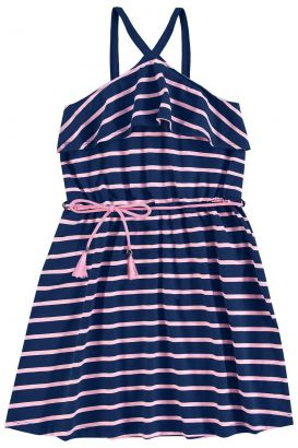 Vestido Infantil Marinho Listras  Kyly