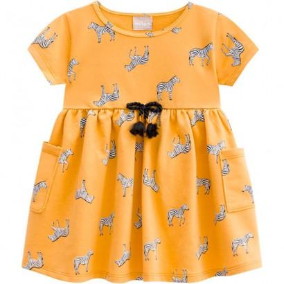 Vestido Infantil Verão Amarelo Zebra Milon