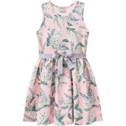 Vestido Infantil Rosa Flores Milon
