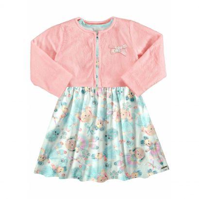 Vestido Infantil Inverno Rosa Cute Alakazoo