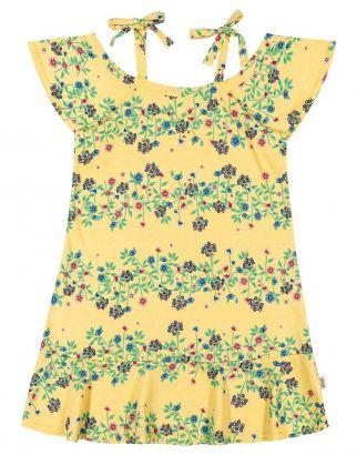 Vestido Infantil Verão Amarelo Floral Elian