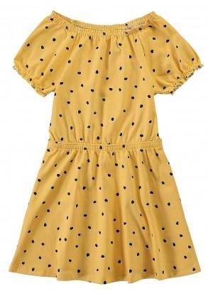 Vestido Infantil Verão Amarelo Poá Malwee