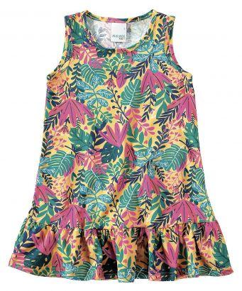 Vestido Infantil Verão Amarelo Tropical Malwee