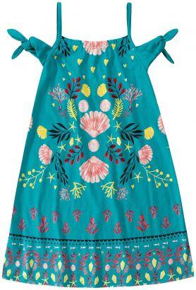 Vestido Infantil Verão Azul Coral Malwee
