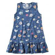 Vestido Infantil Verão Azul Espacial Malwee