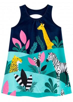 Vestido Infantil Verão Azul Fauna Kyly
