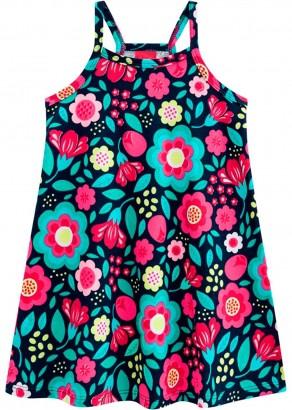 Vestido Infantil Verão Azul Floral Kyly