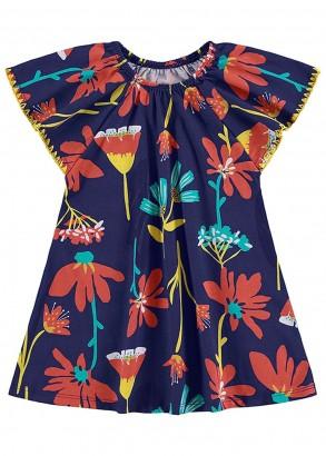 Vestido Infantil Verão Azul Floral Nanai