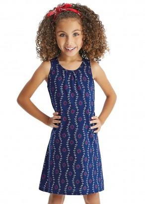 Vestido Infantil Verão Azul Flores Malwee