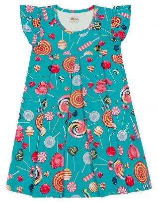 Vestido Infantil Verão Azul Lollipop Elian