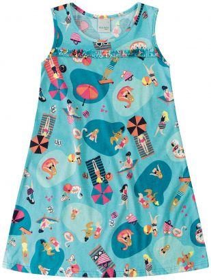 Vestido Infantil Verão Azul Piscina Malwee