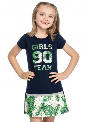 Vestido Infantil Verão Azul Team Elian