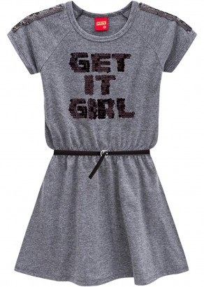 Vestido Infantil Verão Cinza Get Kyly