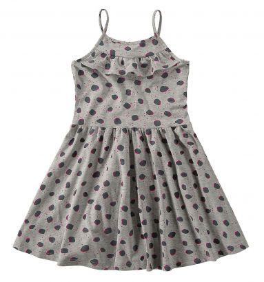 Vestido Infantil Verão Cinza Mescla Bolinha Malwee