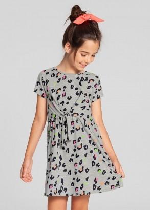 Vestido Infantil Verão Cinza Onça Alakazoo
