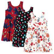 Vestido Infantil Verão Kit 3 Estampas Elian