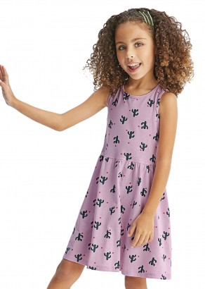 Vestido Infantil Verão Lilás Cactus Malwee