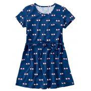 Vestido Infantil Verão Marinho Coração Malwee