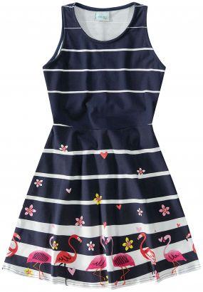 Vestido Infantil Verão Marinho Flamingo Malwee