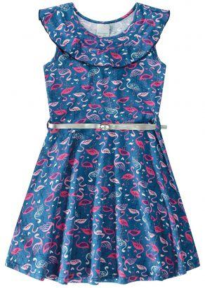 Vestido Infantil Verão Marinho Flamingos Malwee
