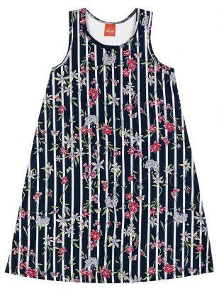 Vestido Infantil Verão Marinho Floral Elian
