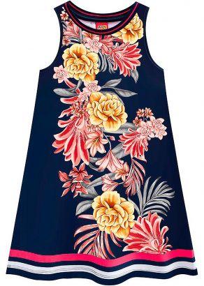 Vestido Infantil Verão Marinho Flores Kyly