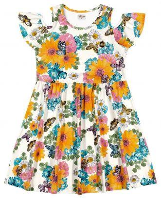 Vestido Infantil Verão OffWhite Floral Elian