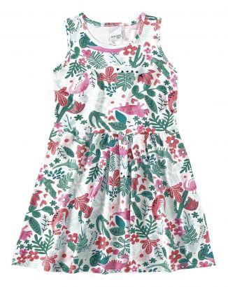 Vestido Infantil Verão OffWhite Folhas Malwee