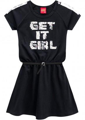Vestido Infantil Verão Preto Get Kyly