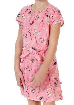 Vestido Infantil Verão Rosa Borboletas Kids Club