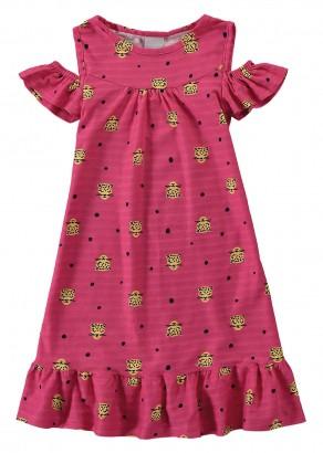 Vestido Infantil Verão Rosa Cats Malwee