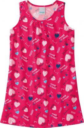 Vestido Infantil Verão Rosa Coração Malwee