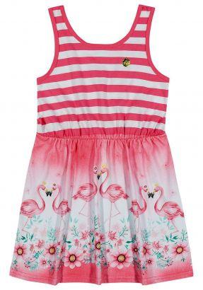 Vestido Infantil Verão Rosa Flamingo Elian